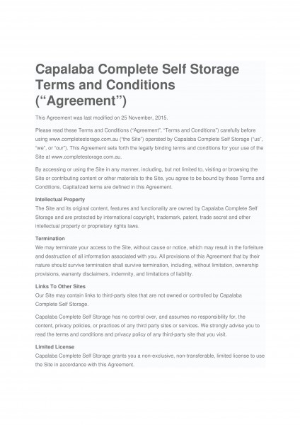 Capalaba Complete Self Storage Term and Conditions page 1